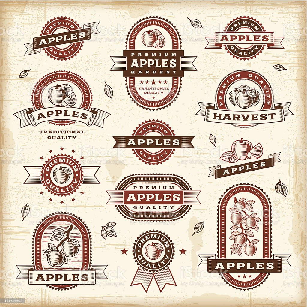 Vector illustrations of apple labels royalty-free stock vector art