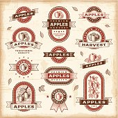 Vector illustrations of apple labels