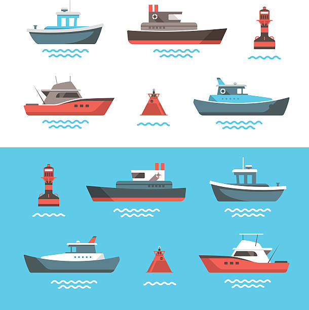 bildbanksillustrationer, clip art samt tecknat material och ikoner med vector illustrations of boats - ship