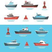 Vector illustrations of boats