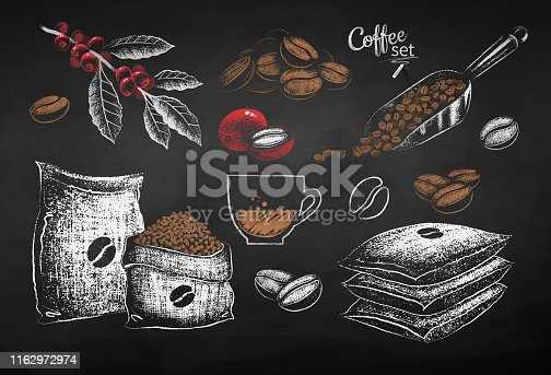 Vector red, white and brown chalk drawn set of illustrations of coffee beans, sack and leaves on chalkboard background.