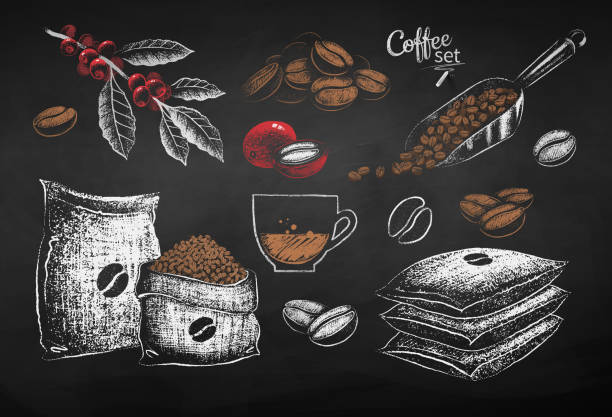 Vector illustrations of coffee beans sack and leaves Vector red, white and brown chalk drawn set of illustrations of coffee beans, sack and leaves on chalkboard background. coffee crop stock illustrations