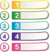Five colored empty banners with digits