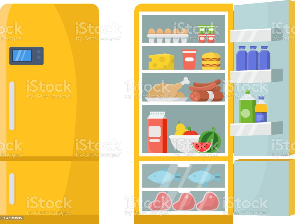 Vector illustrations of empty and closed refrigerator with different healthy food royalty-free vector illustrations of empty and closed refrigerator with different healthy food stock vector art & more images of appliance