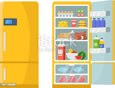 istock Vector illustrations of empty and closed refrigerator with different healthy food 947189686