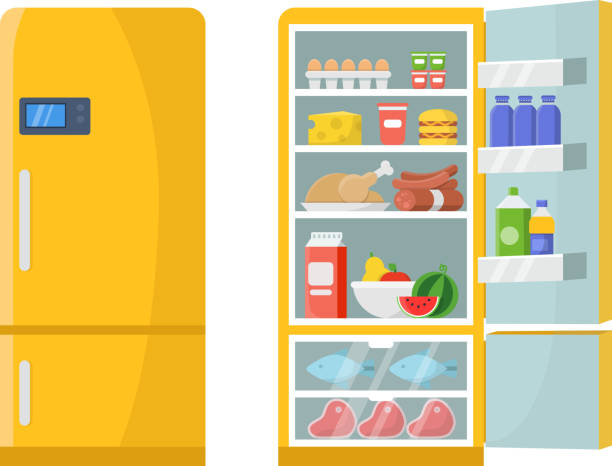 Vector illustrations of empty and closed refrigerator with different healthy food Vector illustrations of empty and closed refrigerator with different healthy food. Refrigerator kitchen, freeze meat on shelf refrigerator stock illustrations