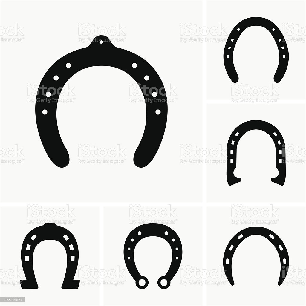 Vector illustrations of horsehoes