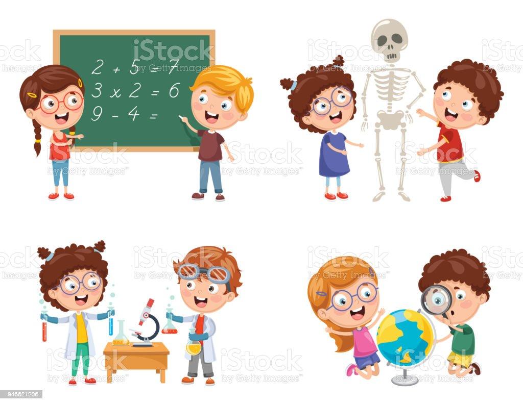 子どもたちの理科学習のベクトル イラスト イラストレーションの