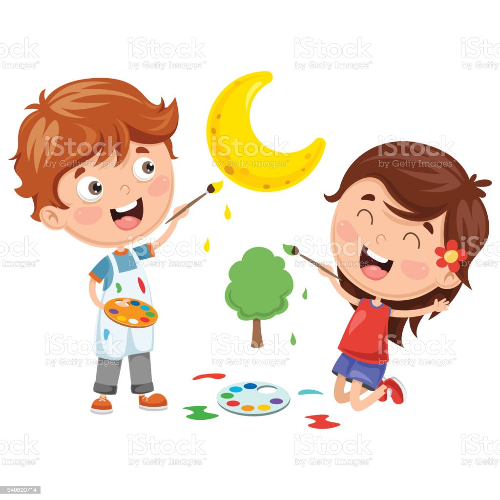 Vector Illustrations Of Kids Painting Stock Vector Art & More Images ...