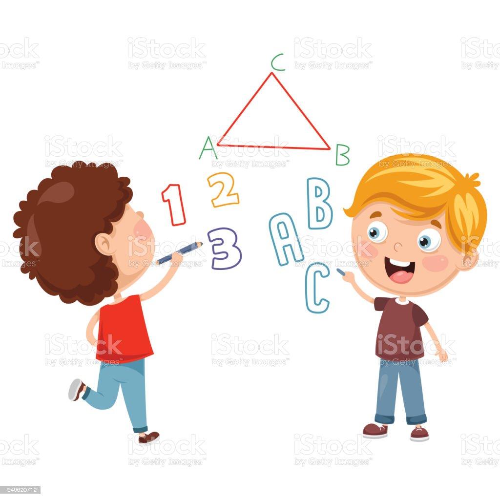 ベクターの子供たちのイラストを書く 2人のベクターアート素材や画像を