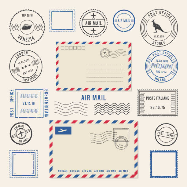 Vector illustrations of letters and postmarks, airmail designs. Antique stamps Vector illustrations of letters and postmarks, airmail designs. Antique stamps. Airmail retro stamp, vintage post stamps imprint alphabet borders stock illustrations