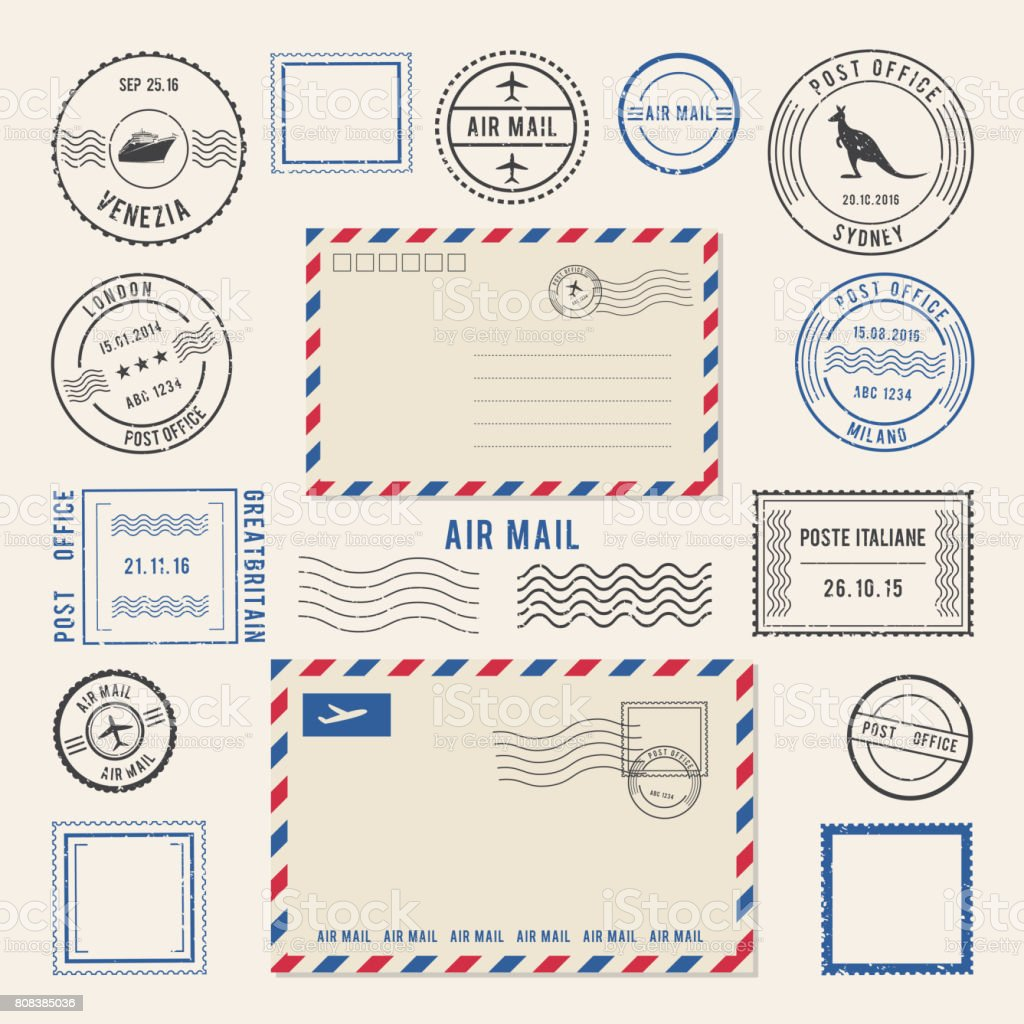 Vector illustrations of letters and postmarks, airmail designs. Antique stamps vector art illustration