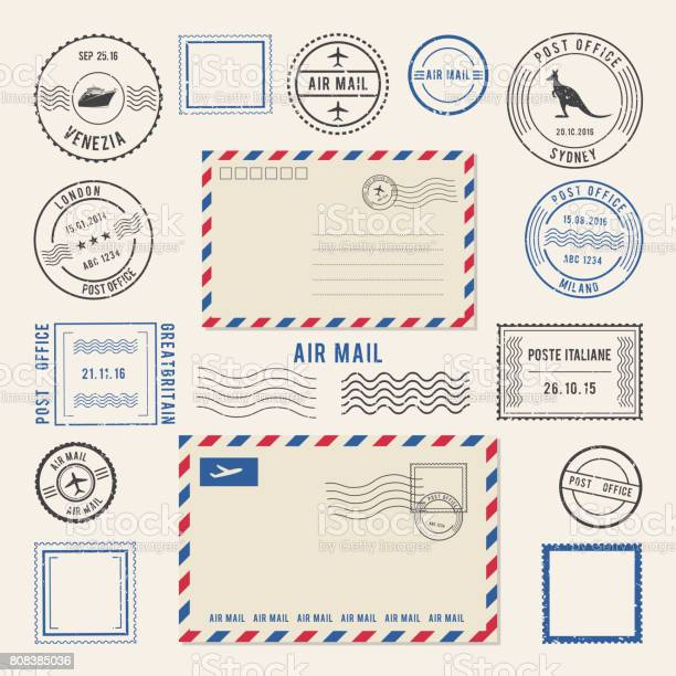Vector illustrations of letters and postmarks, airmail designs. Antique stamps. Airmail retro stamp, vintage post stamps imprint