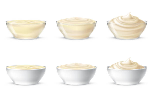 Vector illustrations of mayonnaise, sour cream, sauce, sweet cream, yogurt, cosmetic cream Set vector illustration of mayonnaise, sour cream, sauce, sweet cream, yogurt, cosmetic cream for face and body, swirling in a transparent and white bowl, in realistic style, isolated. Print, template pudding stock illustrations