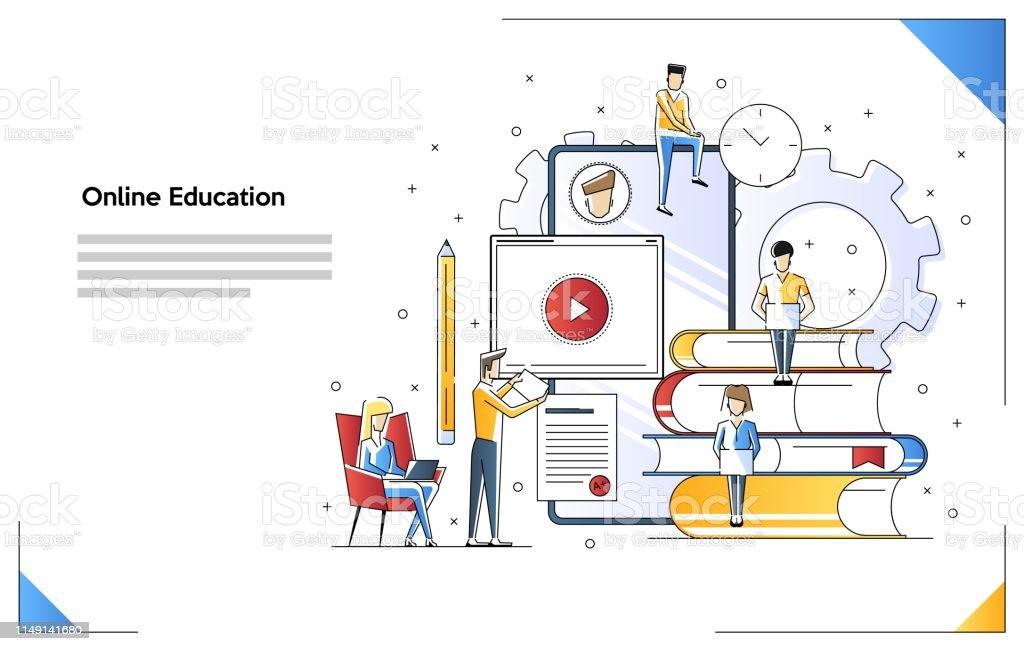 Online education concept illustration. Idea of skills and internet....
