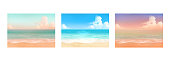 istock Vector illustrations of tropical beach in various scenes. 1249174418