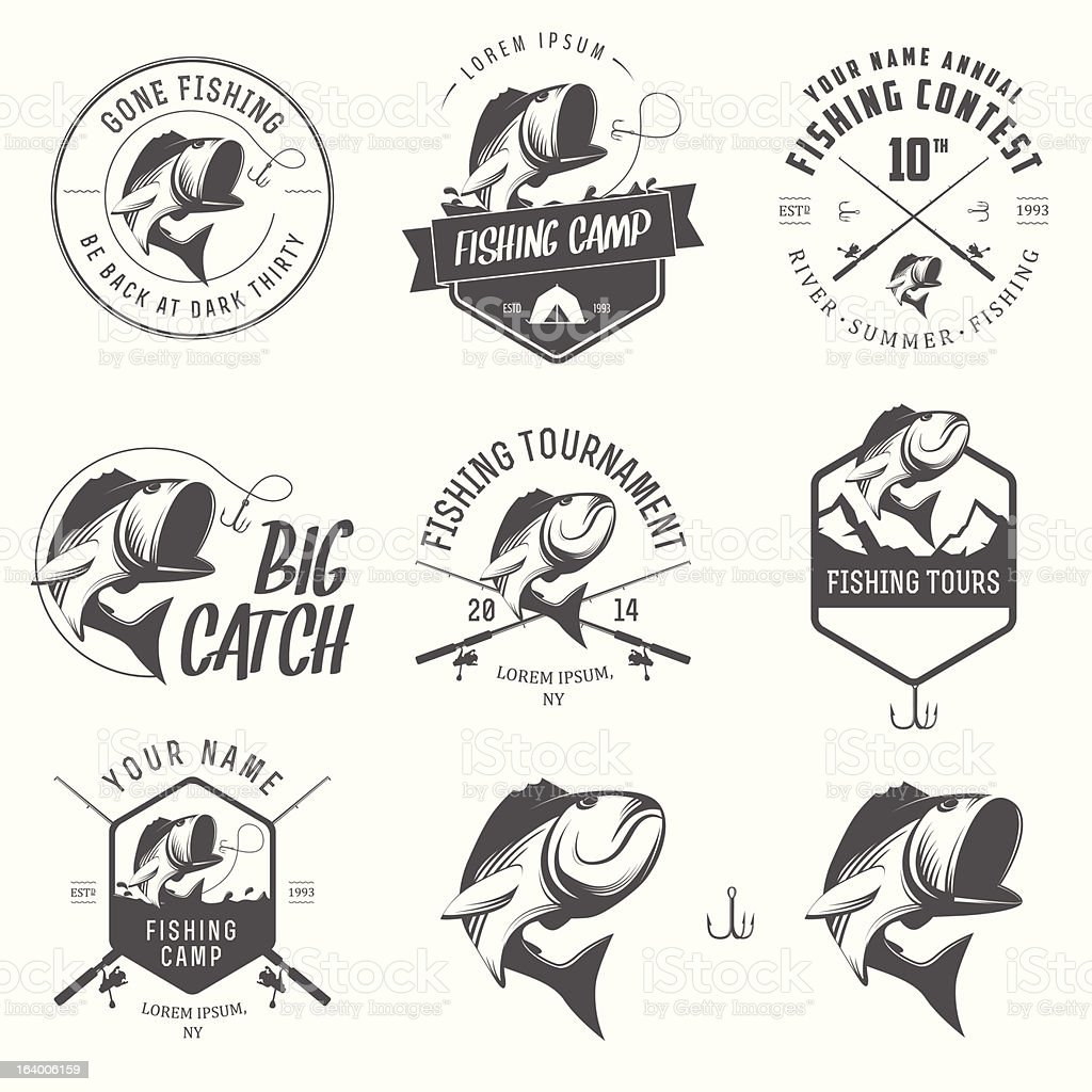 Vector illustrations of vintage fishing labels vector art illustration