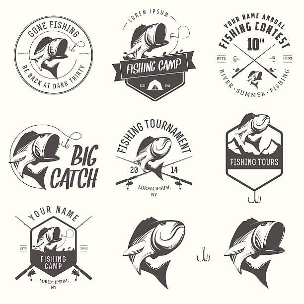 ilustraciones, imágenes clip art, dibujos animados e iconos de stock de ilustraciones vectoriales de pesca vintage etiquetas - pesca