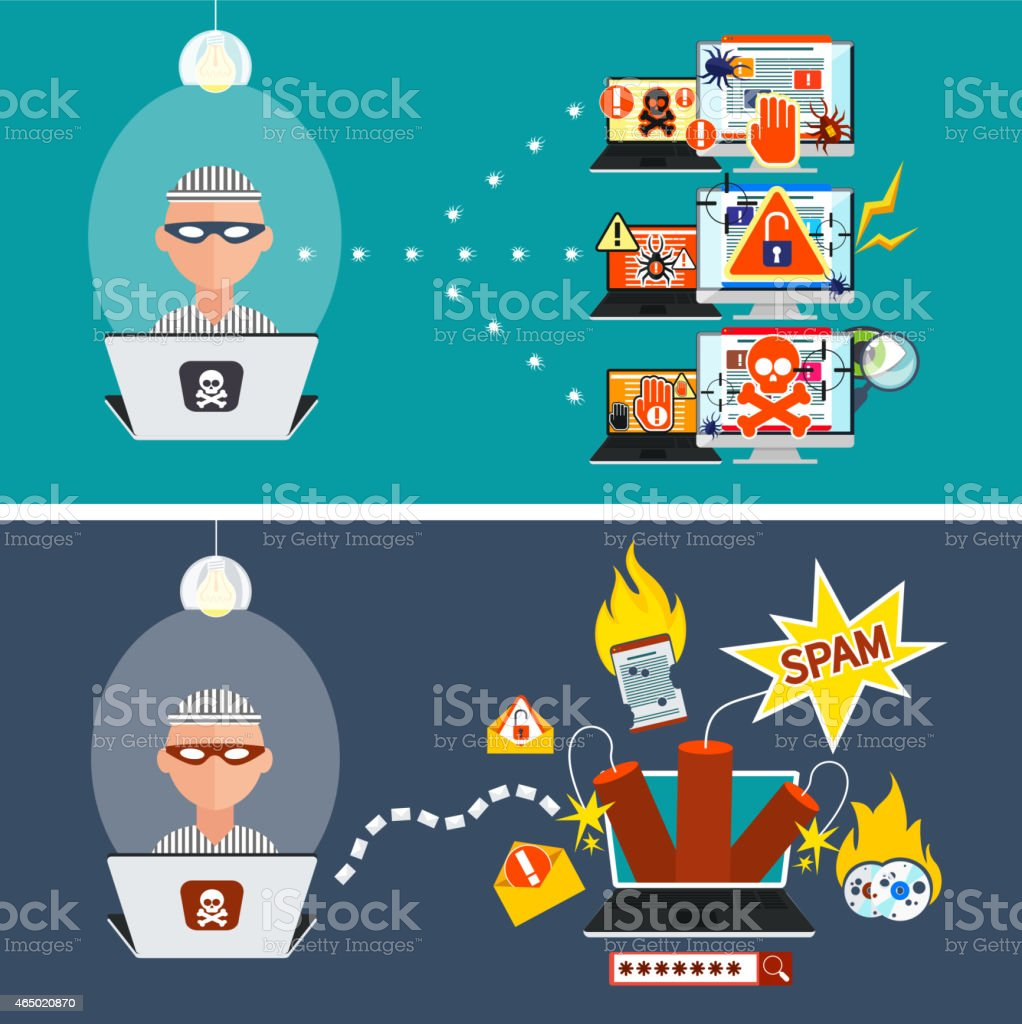 Vector illustrations of viruses and hacking activity vector art illustration