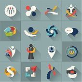 Vector illustrations of web icons and logos in gray squares