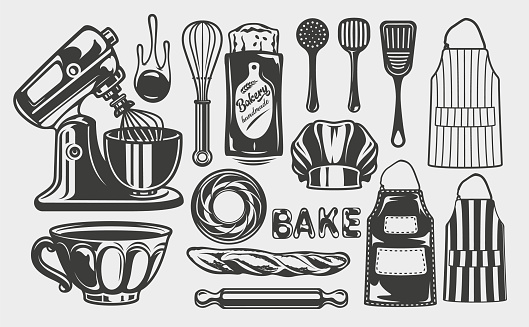 Vector illustrations on the craft bakery theme
