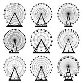 Vector illustrations set. Ferris wheel. Carnival. Funfair background