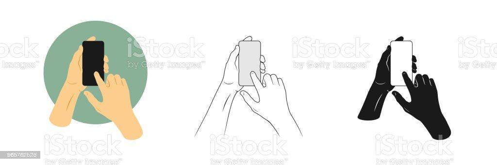 Vectorillustraties instellen iemands handen greep smartphone en raakt scherm met één vinger. Overzicht, silhouet en kleur foto 's - Royalty-free Aanraken vectorkunst