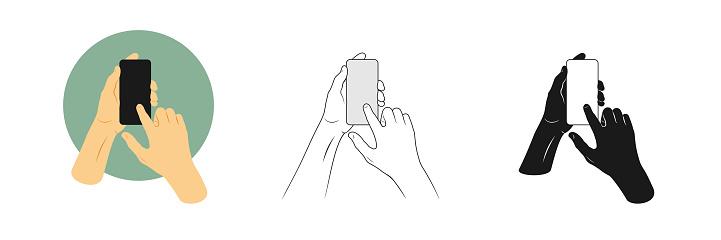 Vectorillustraties Instellen Iemands Handen Greep Smartphone En Raakt Scherm Met Één Vinger Overzicht Silhouet En Kleur Foto S Stockvectorkunst en meer beelden van Aanraken