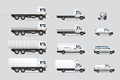 Vector illustrations set of commercial transportation and delivery trucks, isolated on a white background.