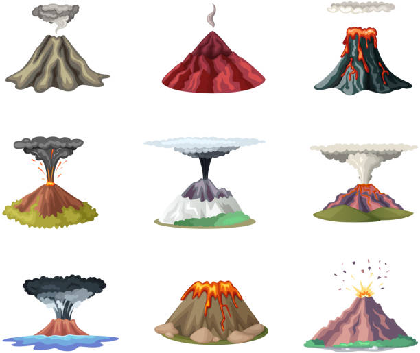 vektor-illustrationen stellen berge und heiße explosion des vulkans - vulkane stock-grafiken, -clipart, -cartoons und -symbole