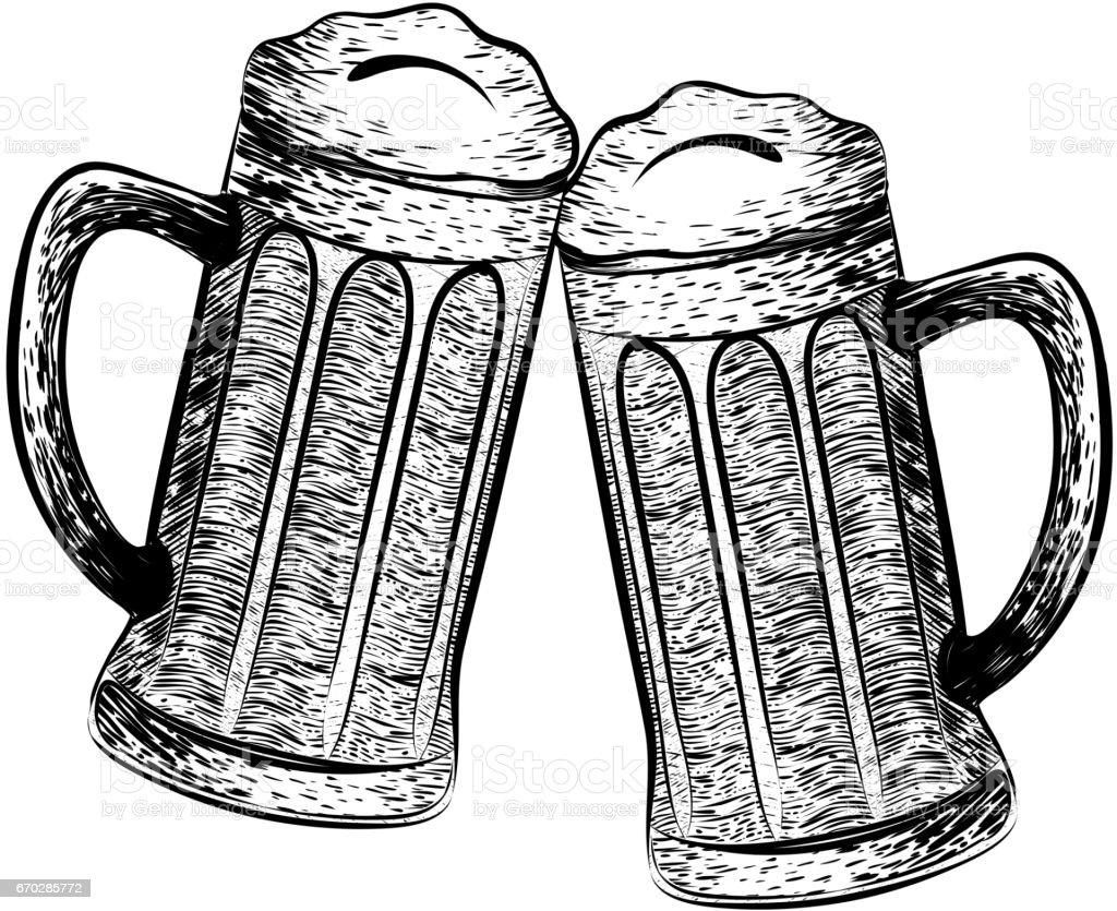 Vector Illustrations Two Beer Glasses In Black And White ...