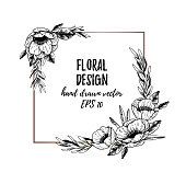 Vector illustrations - Winter gold square label with anemones and floral elements. Hand drawn Christmas frame. Perfect for invitations, greeting cards, tattoo, prints, postcards etc