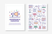 Vector Illustrations with Advertising and Marketing Related Icons for Brochure, Flyer, Cover Book, Annual Report Cover Layout Design Template