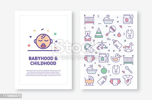 Vector Illustrations with BabyHood Related Icons for Brochure, Flyer, Cover Book, Annual Report Cover Layout Design Template