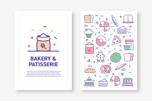 Vector Illustrations with Bakery and Patisserie Related Icons for Brochure, Flyer, Cover Book, Annual Report Cover Layout Design Template