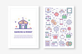 Vector Illustrations with Banking and Money Related Icons for Brochure, Flyer, Cover Book, Annual Report Cover Layout Design Template