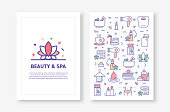 Vector Illustrations with Beauty and SPA Related Icons for Brochure, Flyer, Cover Book, Annual Report Cover Layout Design Template
