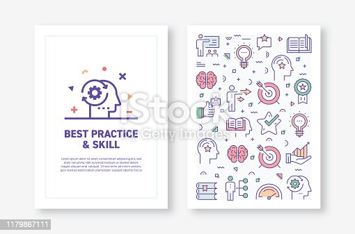 Vector Illustrations with Best Practice and Skill Related Icons for Brochure, Flyer, Cover Book, Annual Report Cover Layout Design Template
