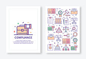 Vector Illustrations with Compliance Related Icons for Brochure, Flyer, Cover Book, Annual Report Cover Layout Design Template