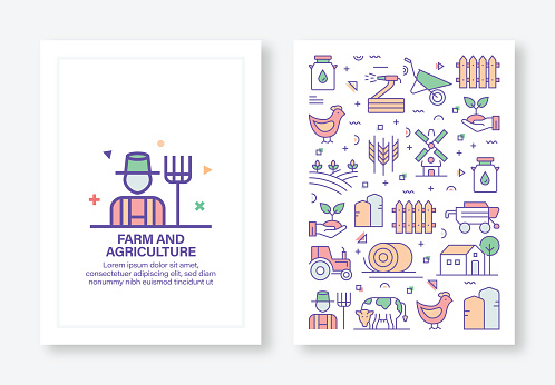 Vector Illustrations with Farm and Agriculture Related Icons for Brochure, Flyer, Cover Book, Annual Report Cover Layout Design Template