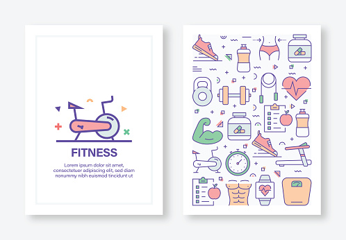 Vector Illustrations with Fitness and Workout Related Icons for Brochure, Flyer, Cover Book, Annual Report Cover Layout Design Template
