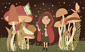 Vector illustrations with girl and mushrooms
