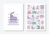 Vector Illustrations with Heavy and Power Industry Related Icons for Brochure, Flyer, Cover Book, Annual Report Cover Layout Design Template