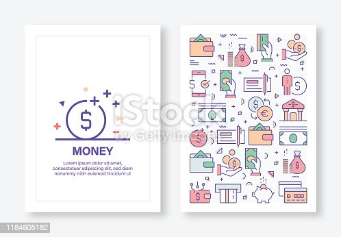 Vector Illustrations with Money Related Icons for Brochure, Flyer, Cover Book, Annual Report Cover Layout Design Template