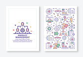 Vector Illustrations with Product Management Related Icons for Brochure, Flyer, Cover Book, Annual Report Cover Layout Design Template