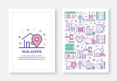 Vector Illustrations with Real Estate Related Icons for Brochure, Flyer, Cover Book, Annual Report Cover Layout Design Template