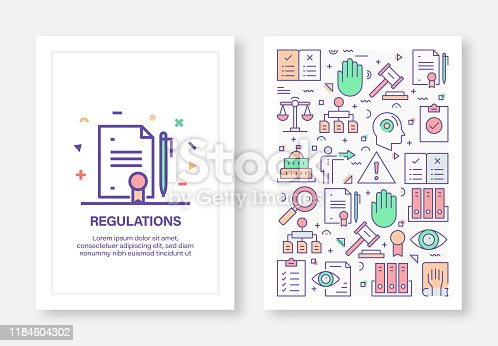 Vector Illustrations with Regulations Related Icons for Brochure, Flyer, Cover Book, Annual Report Cover Layout Design Template