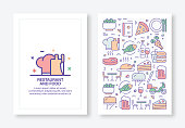 Vector Illustrations with Restaurant and Food Related Icons for Brochure, Flyer, Cover Book, Annual Report Cover Layout Design Template