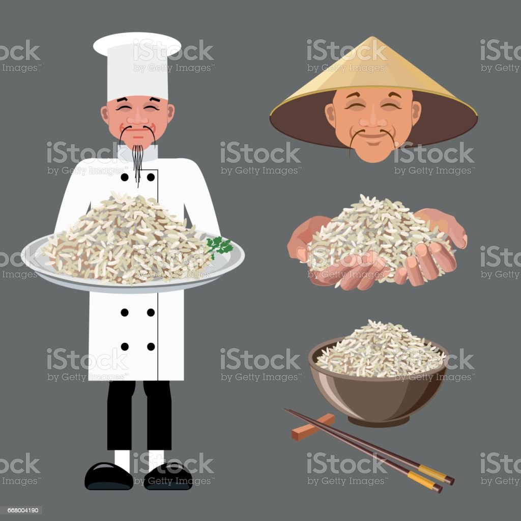 Vector illustrations with rice vector art illustration