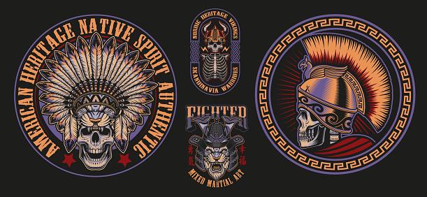 Vector illustrations with skulls warriors